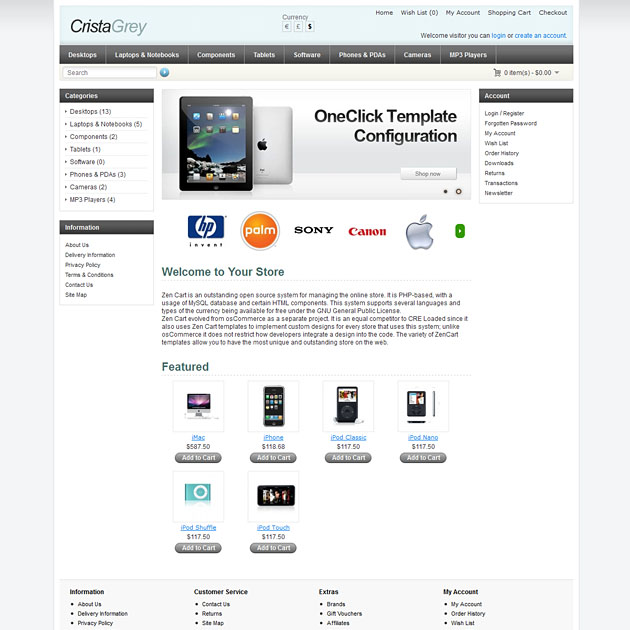 Crista Free OpenCart Template Set, Free OpenCart Theme