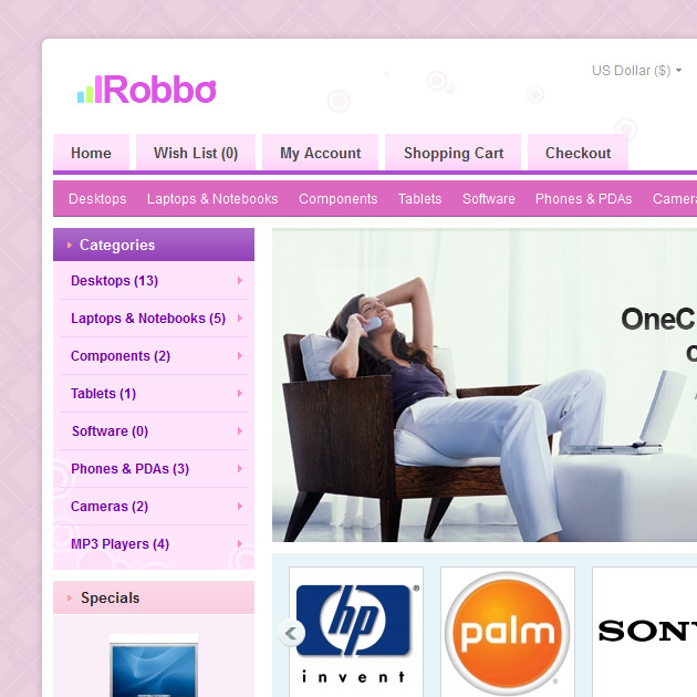 Robbo opencart template